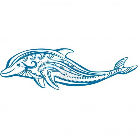 Sketch of decorated blue dolphin