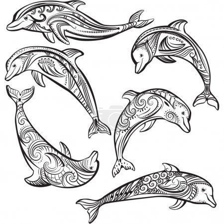 Illustration for Set of Decorated dolphin - Royalty Free Image