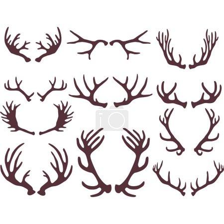 Silhouettes of deer antlers
