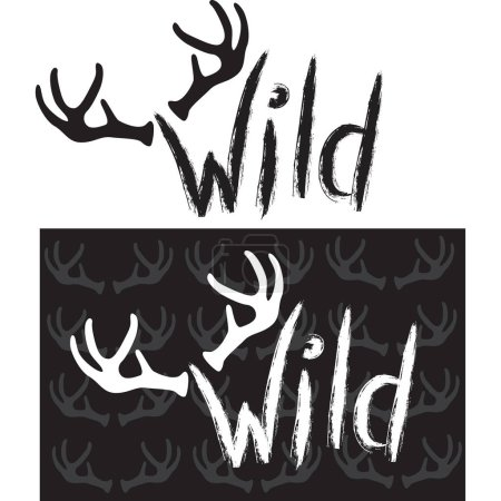 Illustration for Wild. Hand drawn lettering - Royalty Free Image