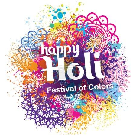 Illustration pour Joyeuse fête des couleurs Holi - image libre de droit