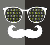 Abstract portrait of man in sunglasses with moustache Vintage print in vector