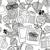 seamless pattern with vintage objects