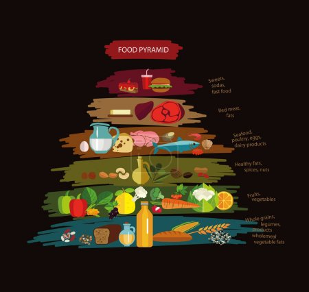 Food pyramid with useful and harmful food