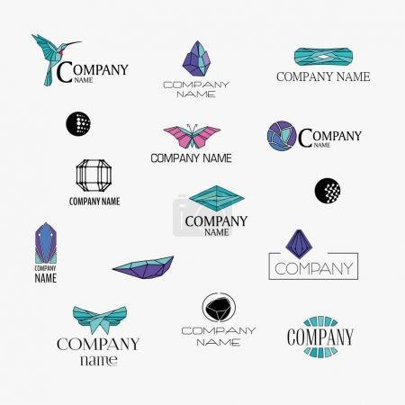 ensemble de conception de logos origami et cristal