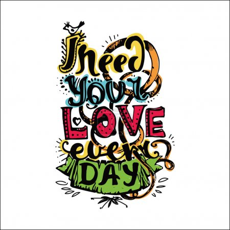 colorful romantic card with lettering