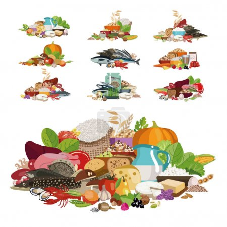 """Composition from natural useful products """"100% organic"""". The basis of a healthy diet. Sets from different products."""