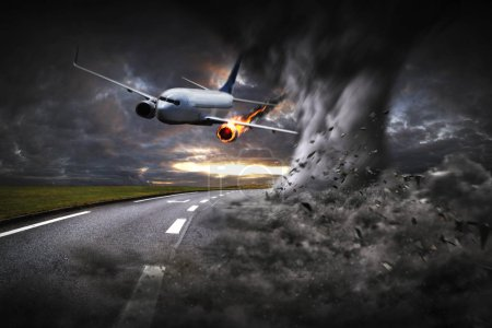 Photo for Plane with engine on fire about to crash after hitting a tornado - Royalty Free Image