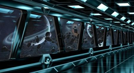 Spaceship corridor with view on distant planets system 3D render