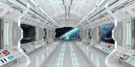 Photo for Spaceship interior with view on space and planet Earth 3D rendering elements of this image furnished by NASA - Royalty Free Image