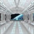 Spaceship interior with view on space and planet E...