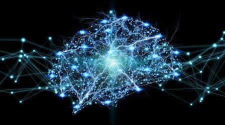 Photo pour Radiographie numérique du cerveau humain sur fond blakc rendu 3D - image libre de droit