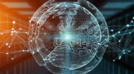 Connexions système monde global view 3d rendering
