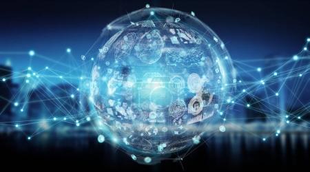 Photo pour Sphère numérique et hologrammes données sur fond de ville rendu 3D - image libre de droit