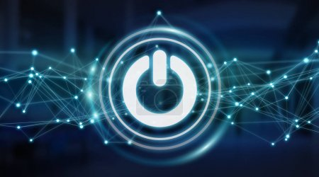 Power energy icon with connections 3D rendering