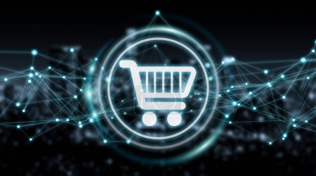 Digital shopping icons with connections 3D rendering