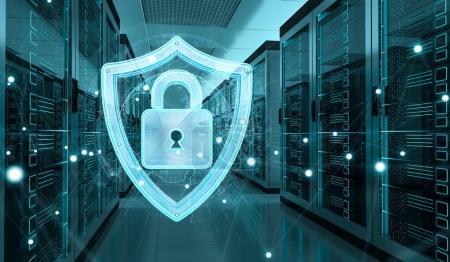 Photo pour Pare-feu blanc et bleu activé sur le centre de données de la salle de serveurs rendu 3D - image libre de droit