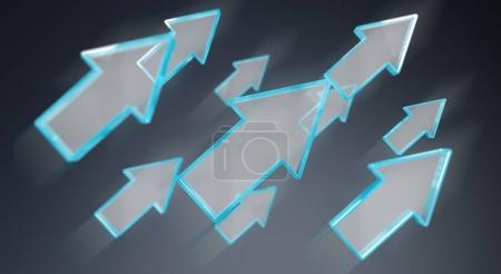 Photo for Digital modern blue arrow on grey background 3D rendering - Royalty Free Image