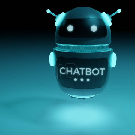 Futuristic digital chatbot 3D rendering