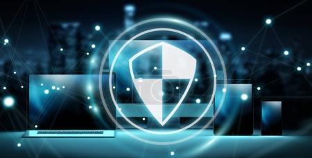 Antivirus interface over modern tech devices 3D rendering