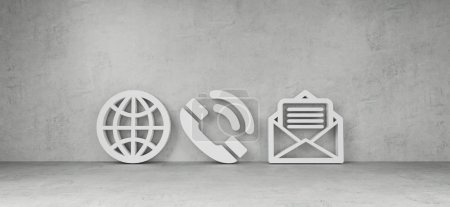 Big contact icons in modern interior 3D rendering