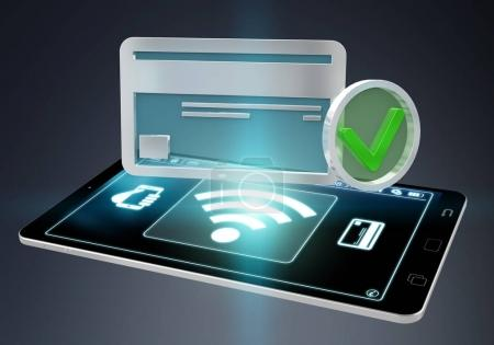 Isolated contactless terminal payment 3D rendering