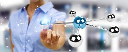 Businesswoman using flying 3D spheres network 3D rendering