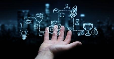 Photo for Businessman on blurred background using manuscript project presentation with his hand - Royalty Free Image