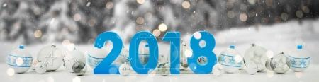 2018 new year eve with christmas baubles lined up 3D rendering