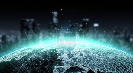 Connections system global world view 3D rendering