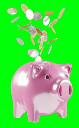 Piggy bank with flying coins going inside 3D rendering