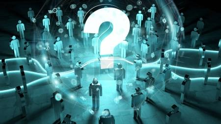 Question mark illuminating a group of people 3D rendering