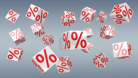 Isolated sales digital icons 3D rendering