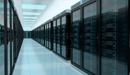 Server room data center interior 3D rendering