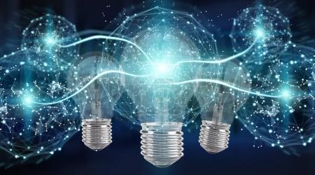 Bright lightbulb illuminating other bulbs 3D rendering