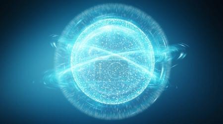 Photo pour Interface sphère de connexion réseau numérique sur fond bleu rendu 3D - image libre de droit