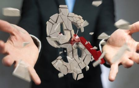 Businessman with exploding dollar currency 3D rendering