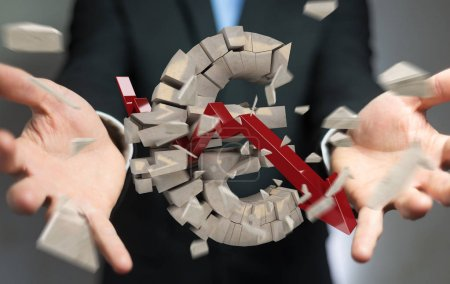 Businessman with exploding euro currency 3D rendering