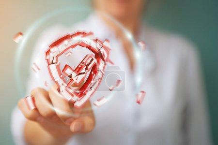 Businesswoman facing security break 3D rendering