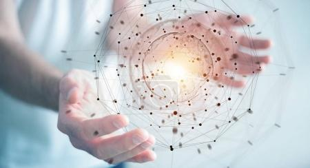 Businessman using planet earth network sphere 3D rendering