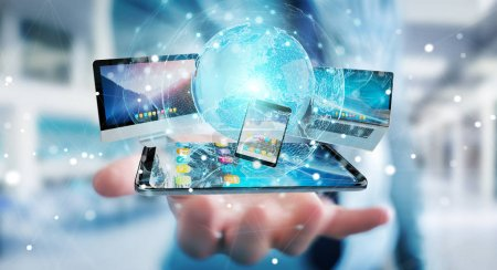 Photo pour Homme d'affaires connectant les appareils technologiques et les applications d'icônes les uns avec les autres rendu 3D - image libre de droit