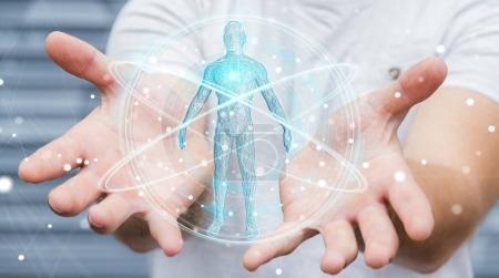 Businessman using digital x-ray human body scan interface 3D ren