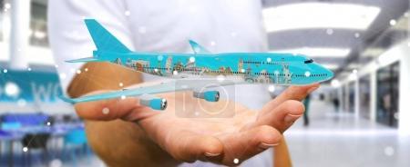 Homme d'affaires avec avion et monuments célèbres de la tendance mondiale 3D