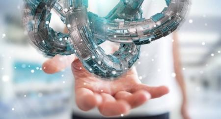 Businessman using futuristic torus textured object 3D rendering