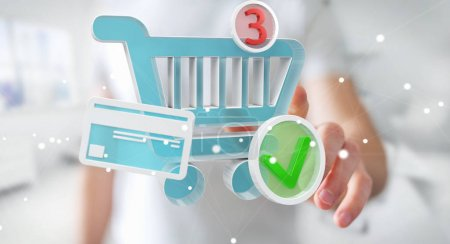 Businessman using digital shopping icons 3D rendering
