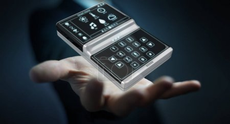 Businessman using smart home remote device 3D rendering