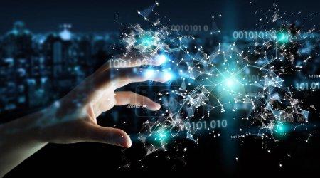 Photo pour Femme d'affaires sur fond flou en utilisant le réseau de connexion de code binaire numérique rendu 3D - image libre de droit