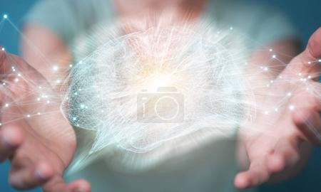 Photo pour Femme d'affaires utilisant l'interface numérique de cerveau humain de rayons X avec l'activité de cellule et de neurones rendu 3D - image libre de droit