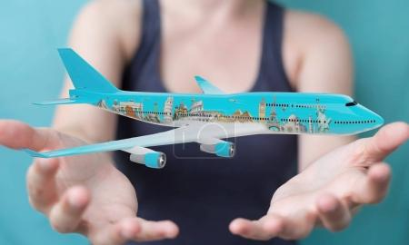 Photo for Businesswoman on blurred background with plane and famous landmarks of the world 3D rendering - Royalty Free Image