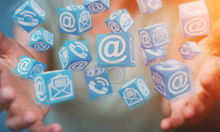 Businesswoman using floating cube contact 3D rendering